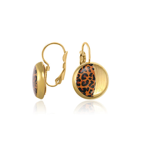 Gold Leopard Dangle Earrings