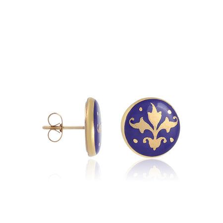 Blue Baroque Post Earrings