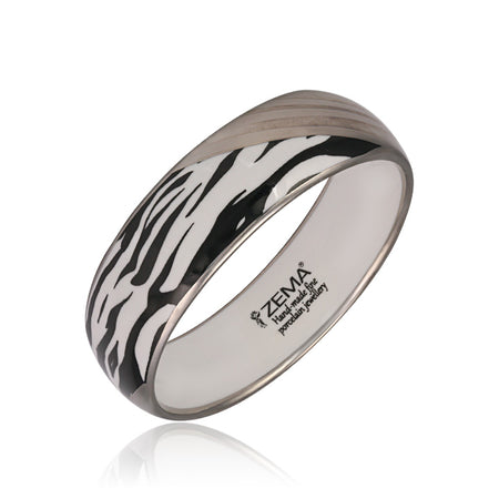 Medium Silver Zebra Bangle Bracelet