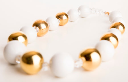 Gold and White Porcelain Candy Ball Necklace