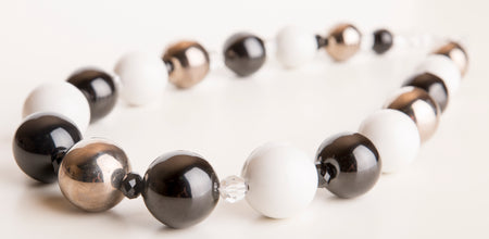 Silver and White Porcelain Candy Ball Necklace