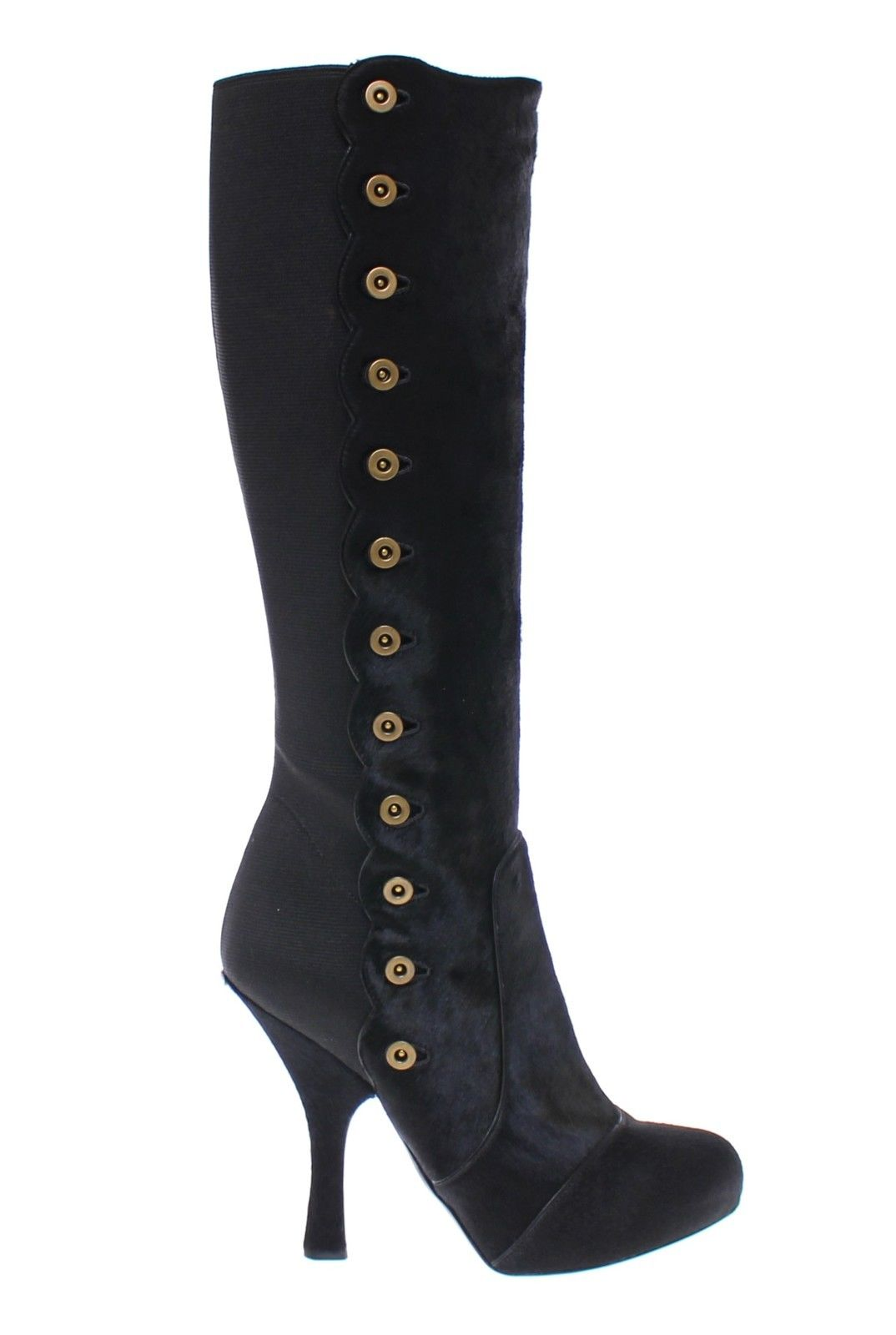 Dolce & Gabbana - Black Fur Leather Baroque Heel Boots Shoes