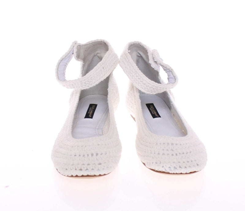 Dolce & Gabbana - White Cotton Knitted Ballet Flats Shoes