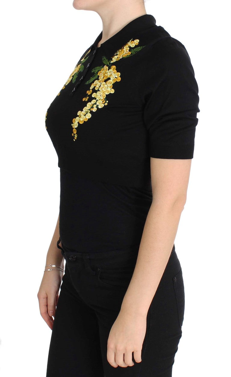 Dolce & Gabbana - Black Silk Floral Embroidered Polo Top