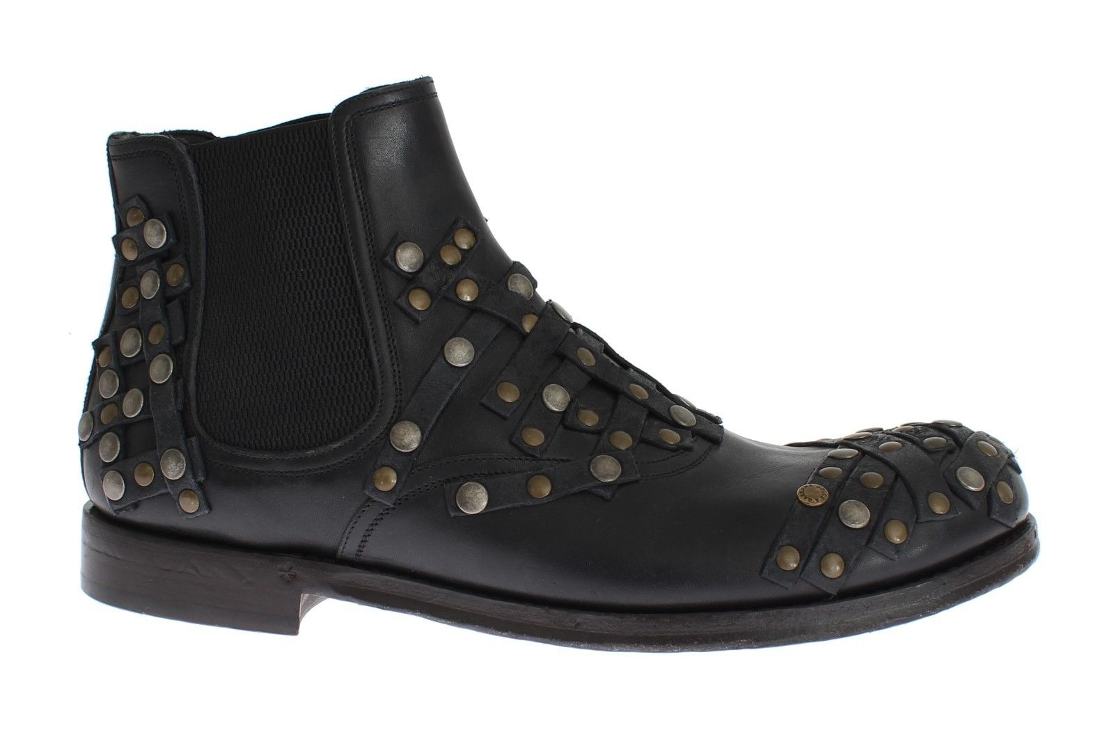 Dolce & Gabbana - Black Leather Gold Studded Shoes Boots