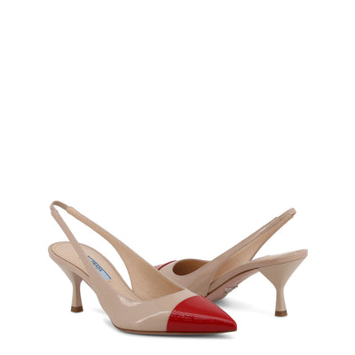 Prada - 1I272L - Tan and Red Court Slingback Heels