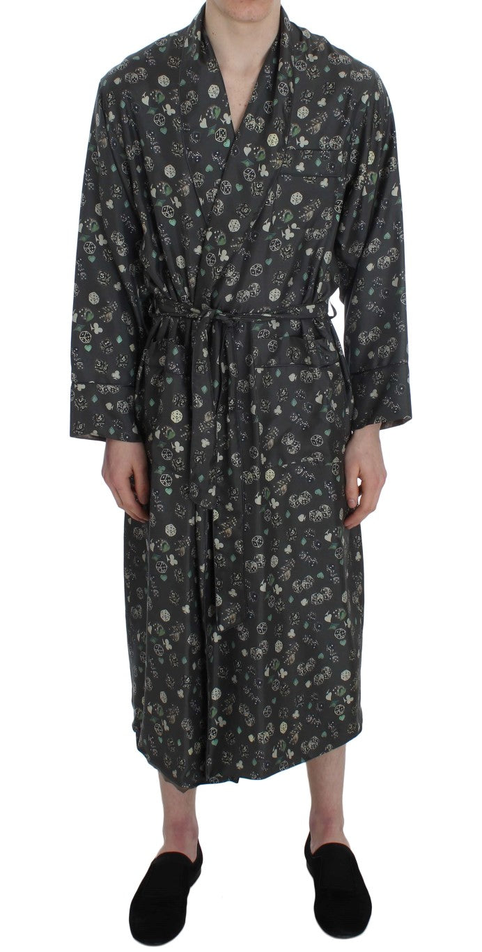 Dolce & Gabbana - Green Dice Card Print Silk Sleepwear Robe