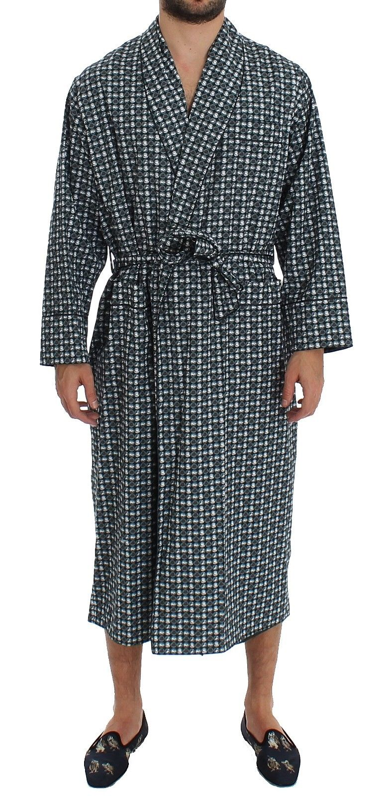 Dolce & Gabbana - Green Hat Print Cotton Robe Coat Nightgown