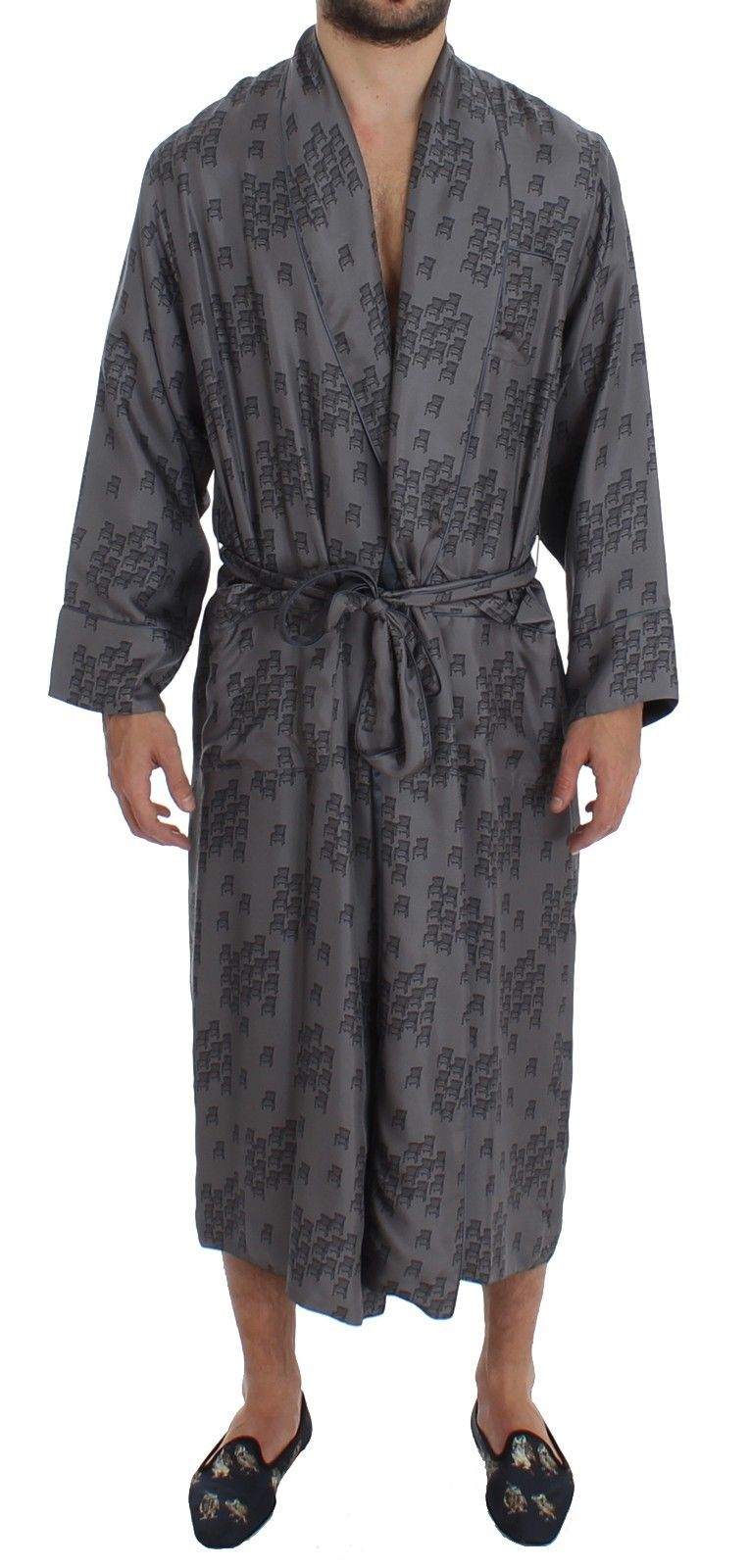 Dolce & Gabbana - Gray Blue Chair Print SILK Robe Coat Nightgown
