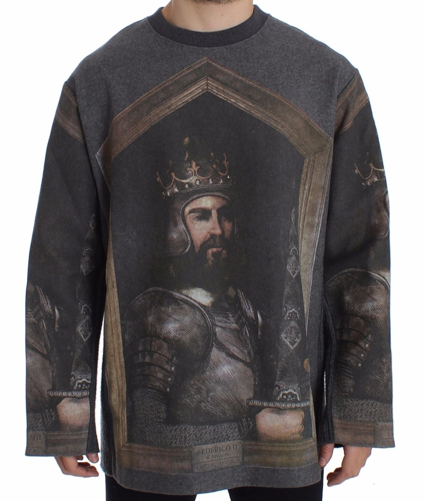 Dolce & Gabbana - Gray King FEDERICO Oversize Sweater Pullover