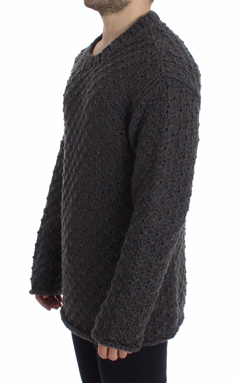 Dolce & Gabbana - Gray Wool Knitted Crewneck Sweater Top