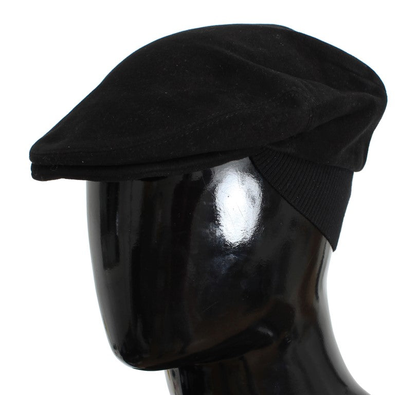 Dolce & Gabbana - Black Cotton Newsboy Cap