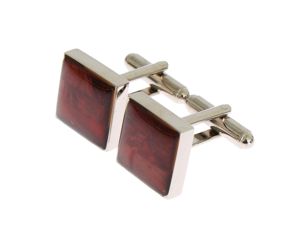 Dolce & Gabbana - Silver Brass Square Red Stone Cufflinks