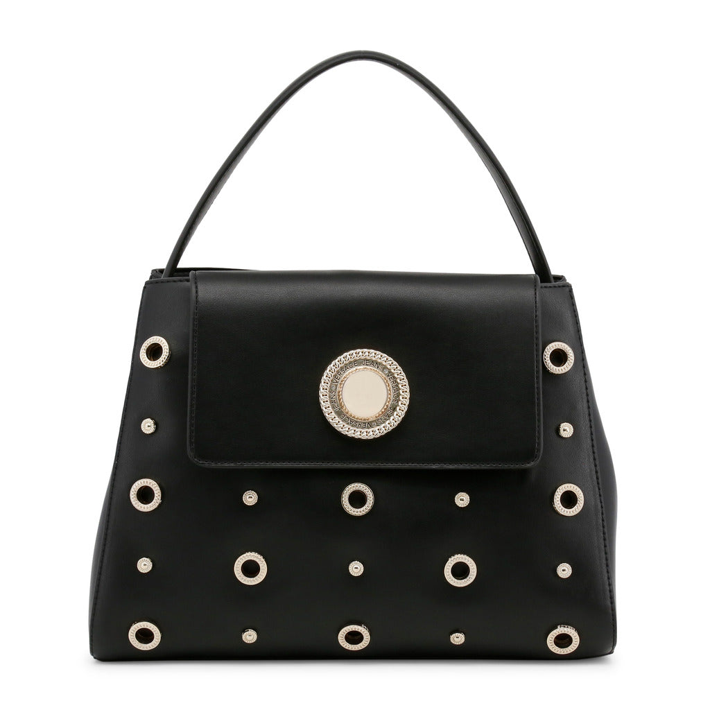 Versace Jeans - Handbag - Black with Round Button and Studs