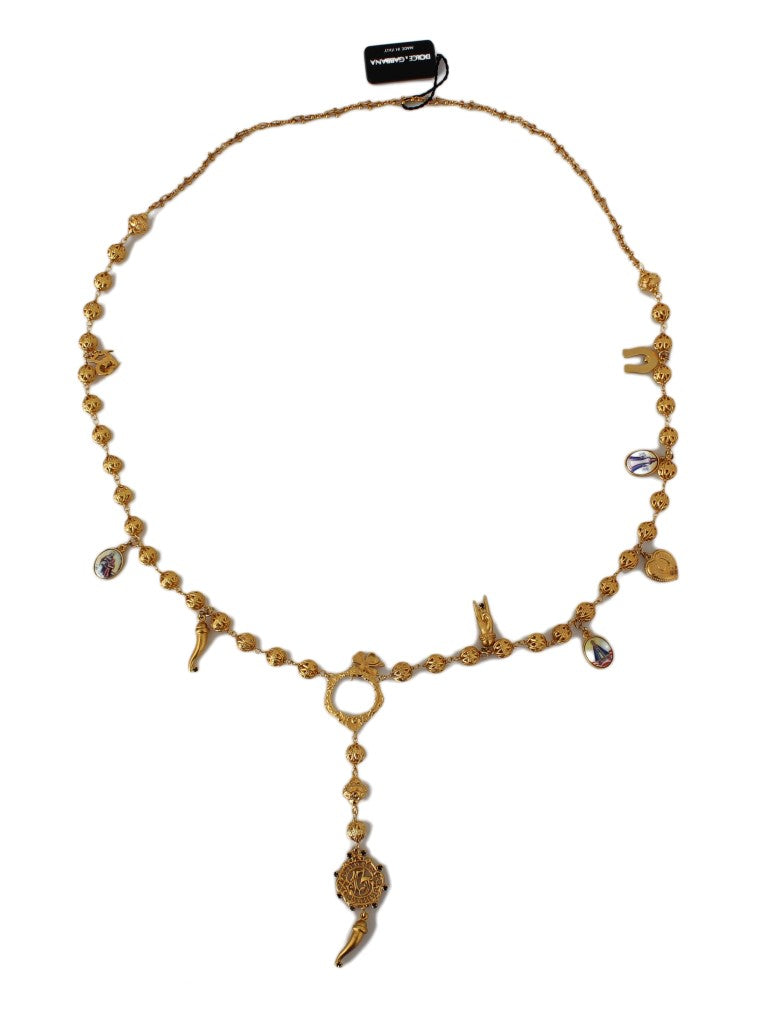 Dolce & Gabbana - Gold Brass Crystal Sicily Maria Charms Chain Necklace