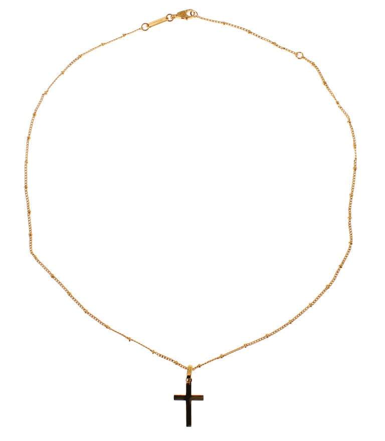 Gold Brass Beaded Chain Cross Pendant Necklace