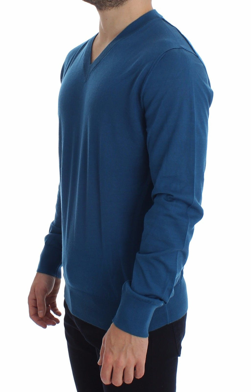 Dolce & Gabbana - Blue Cashmere V-neck Sweater Pullover Top