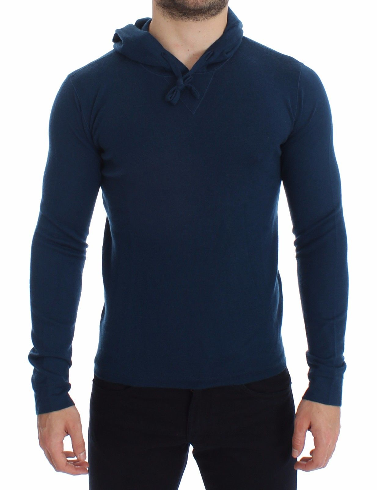 Dolce & Gabbana - Blue Cashmere Hooded Sweater Pullover Top