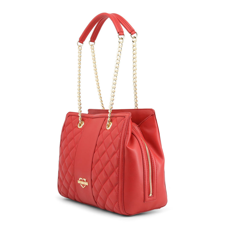 Love Moschino - Shoulder Bag - Red Quilted 3 compartments