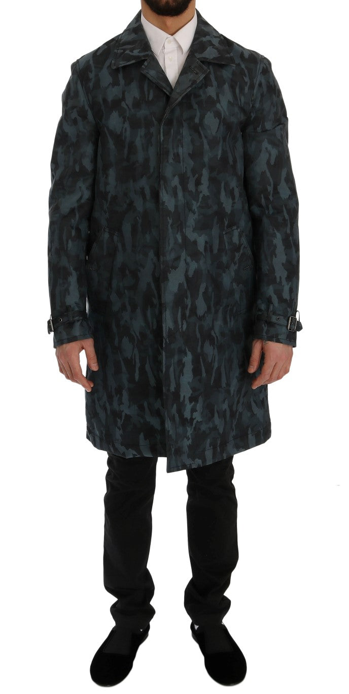 Dolce & Gabbana - Blue Camouflage Trench Trench