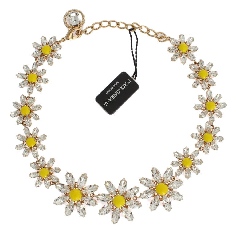 Yellow Sunflower Crystal Statement Necklace