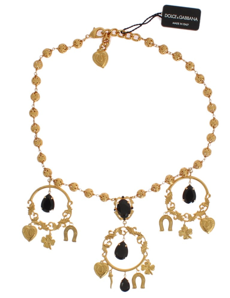 Dolce & Gabbana - Gold Charm Black Crystal Statement Necklace