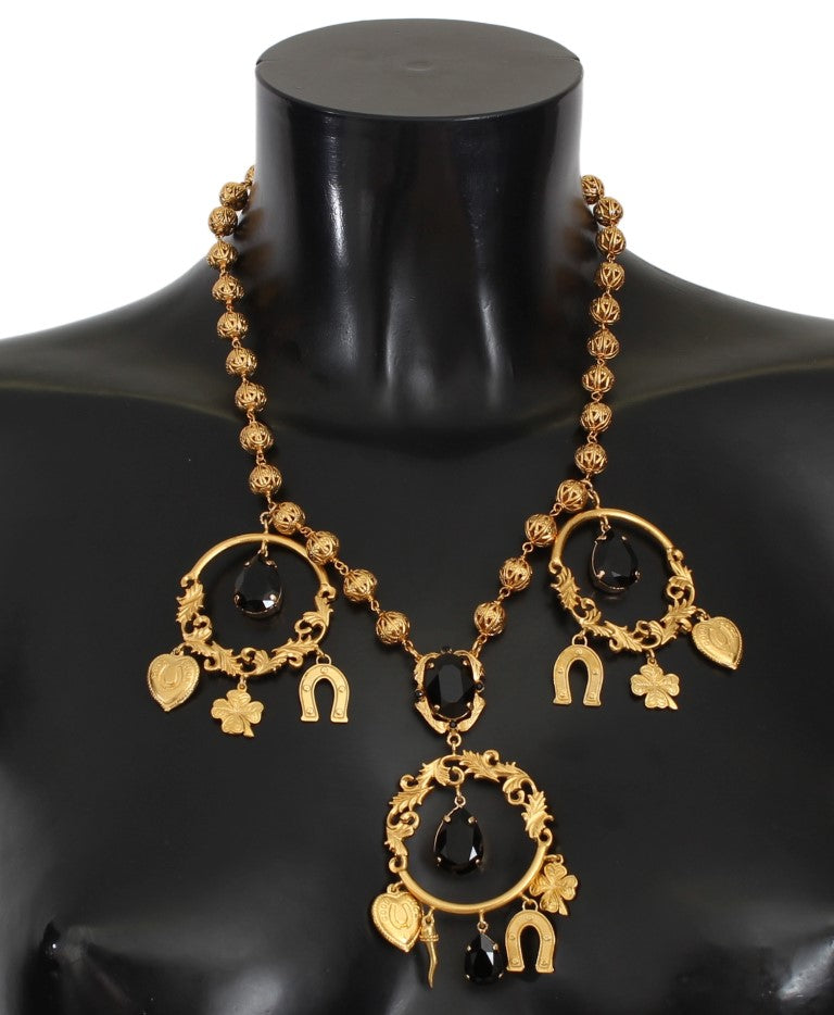 Gold Charm Black Crystal Statement Necklace
