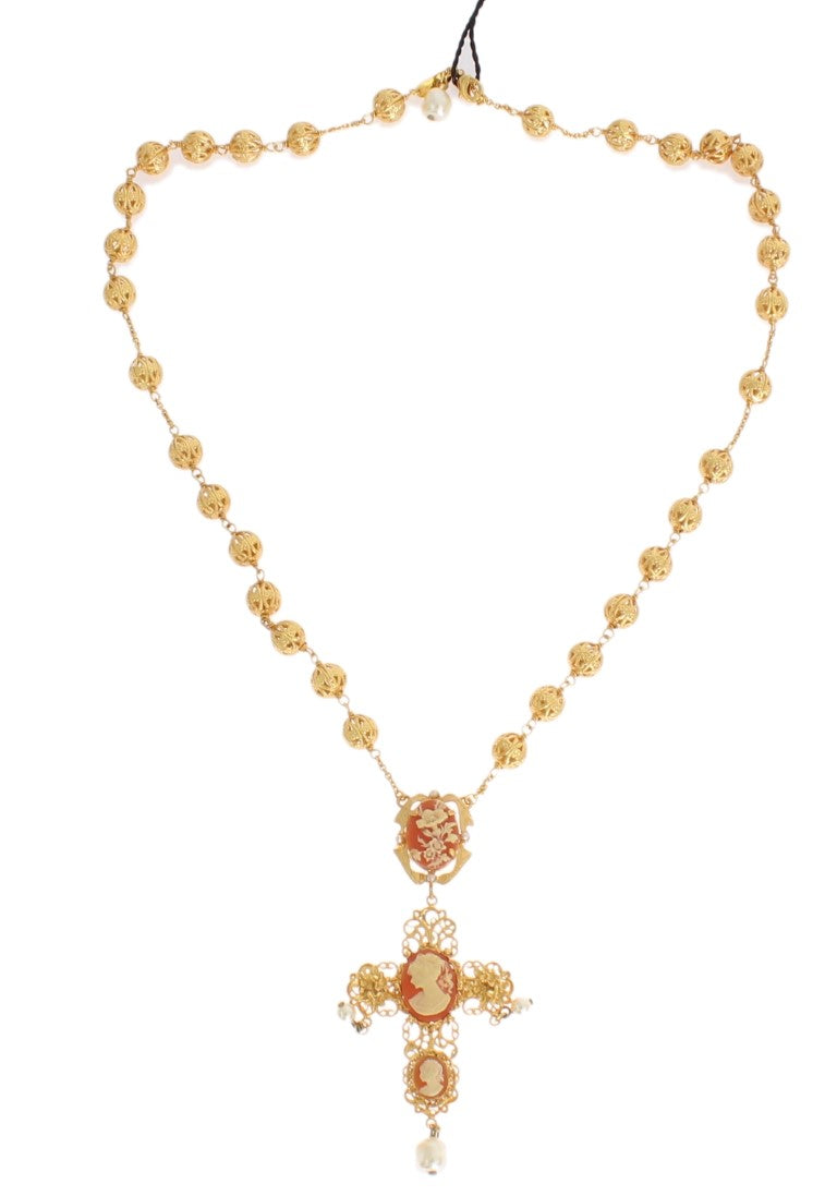 Dolce & Gabbana - Gold Brass SICILY Cross Pearl Statement Necklace