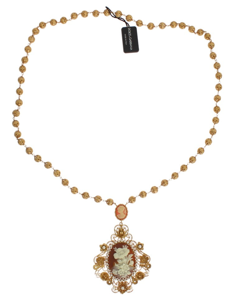 Gold Brass SICILY Floral Resin Pearls Necklace