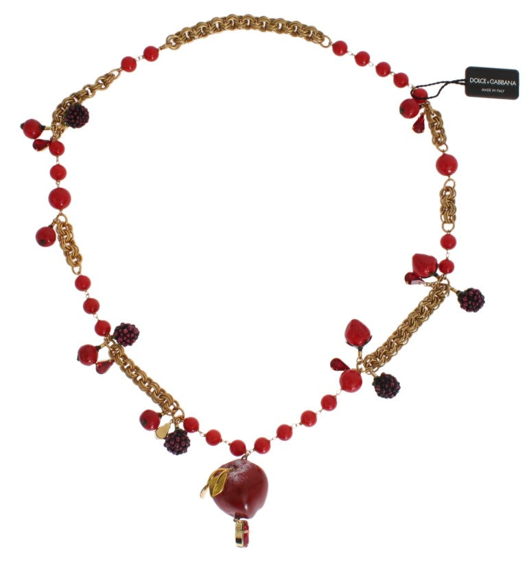 Dolce & Gabbana - Gold Red Apple Fruit Crystal Charms Necklace