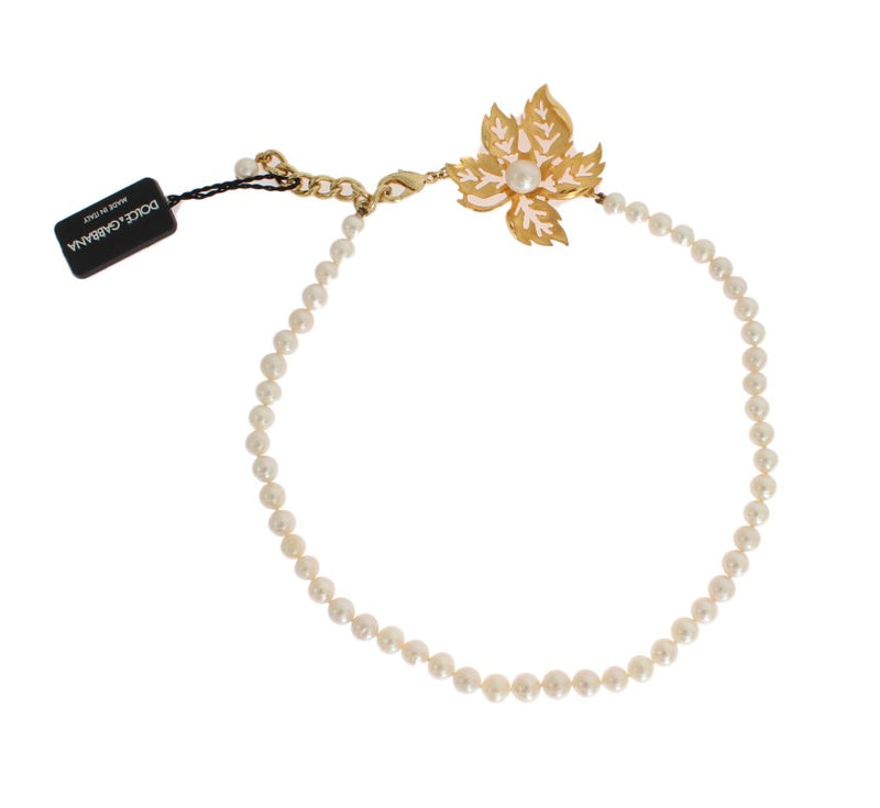 Dolce & Gabbana - Gold Leaf Brass Pendant White Pearl Necklace