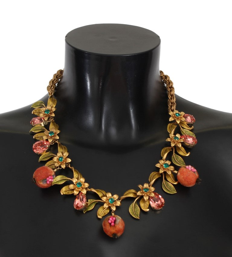 Dolce & Gabbana - Gold Figs Fruit Floral Crystal Charms Necklace