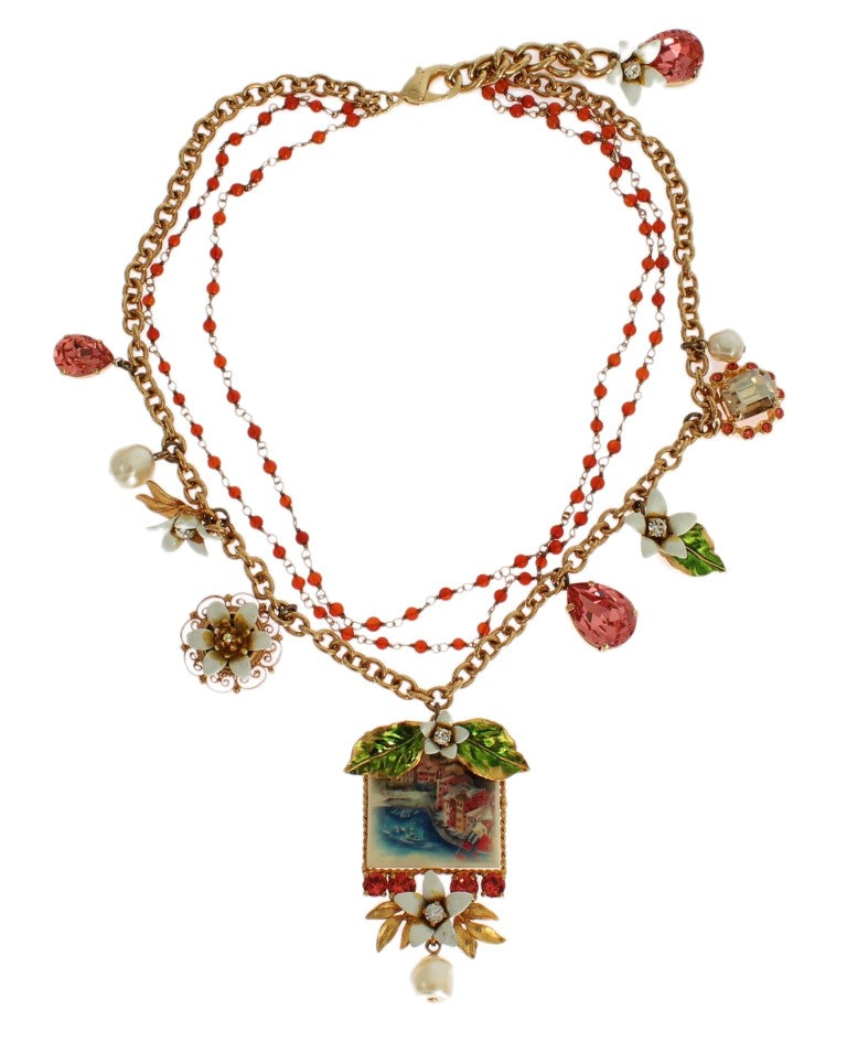 Dolce & Gabbana - Gold Floral Crystal Beaded SICILY Charms Necklace