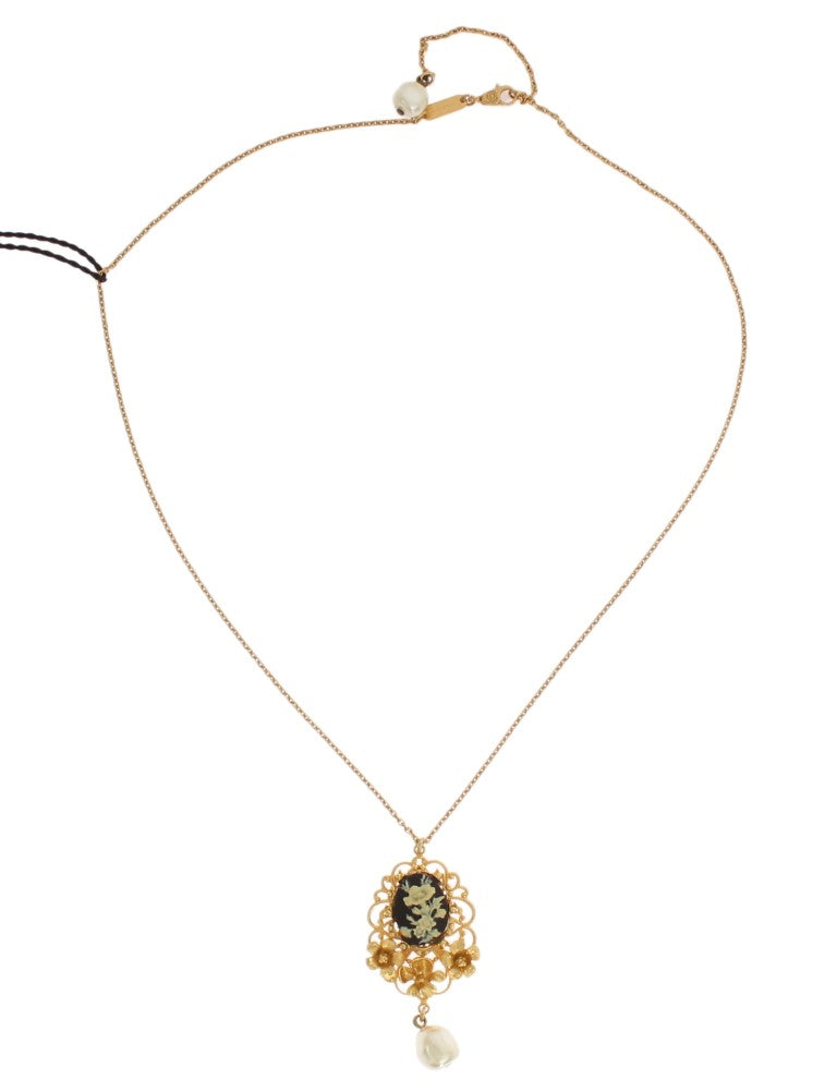 Gold Brass Pearl Floral Crystal Necklace