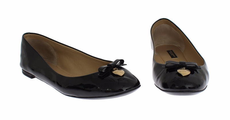 Dolce & Gabbana - Black Patent Leather Heart Ballet Flat Shoes