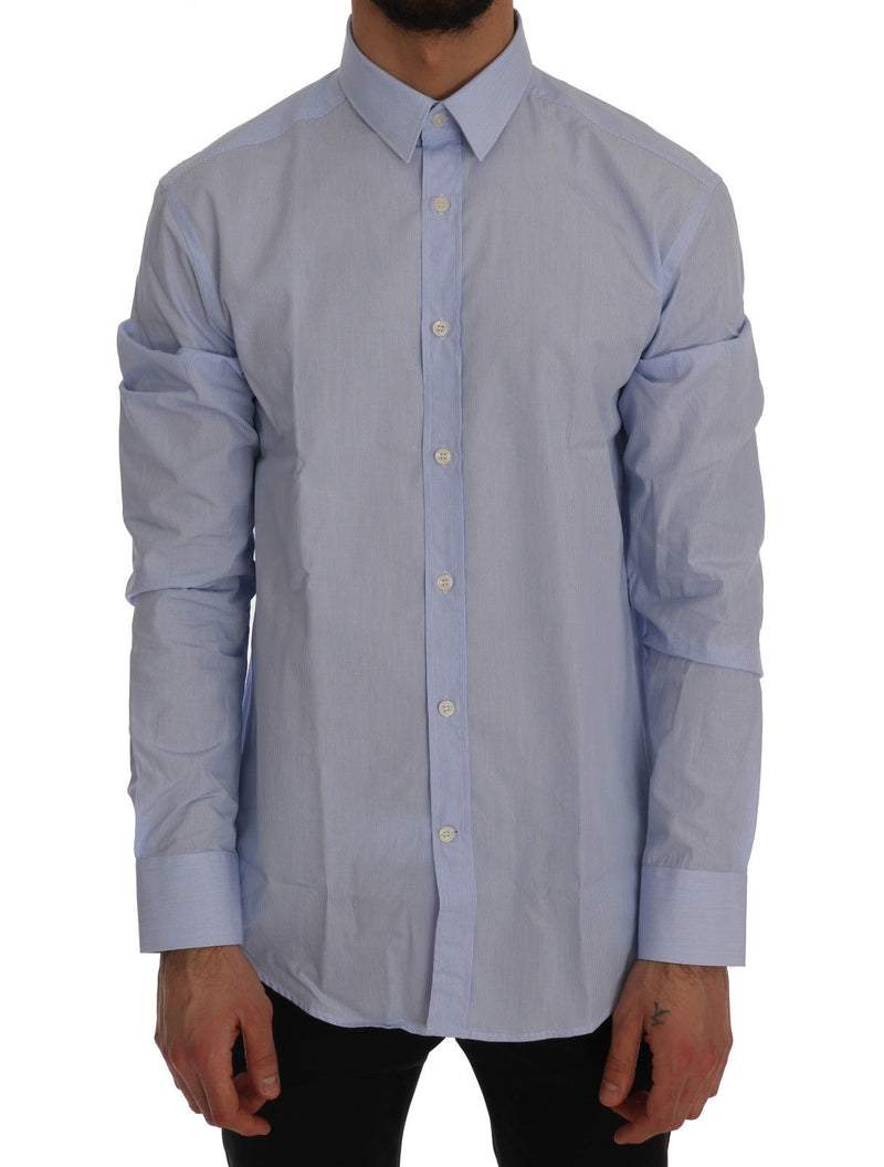 Blue Striped Cotton Dress Shirt Trend Fit