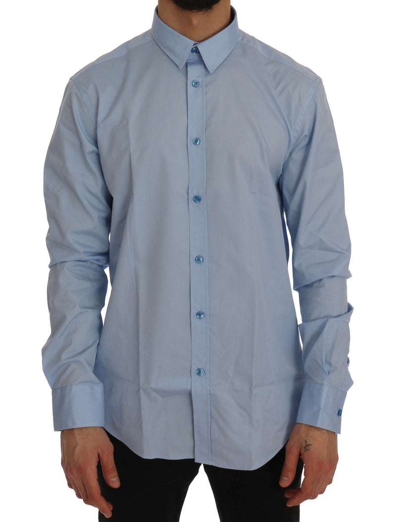 Blue Cotton Dress Shirt Trend Slim Fit
