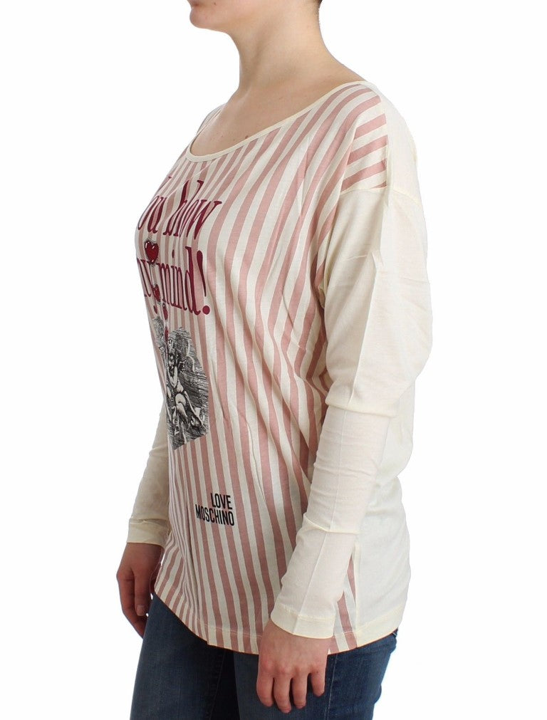 Love Moschino - White striped longsleeved cotton top