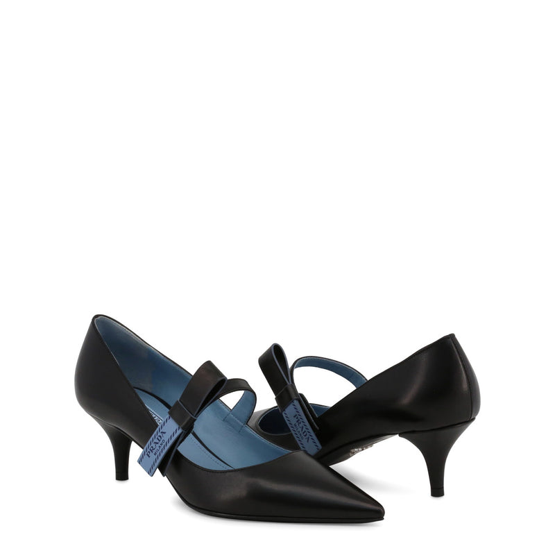 Prada - 1I377I - Black with Blue Trim Court Heels