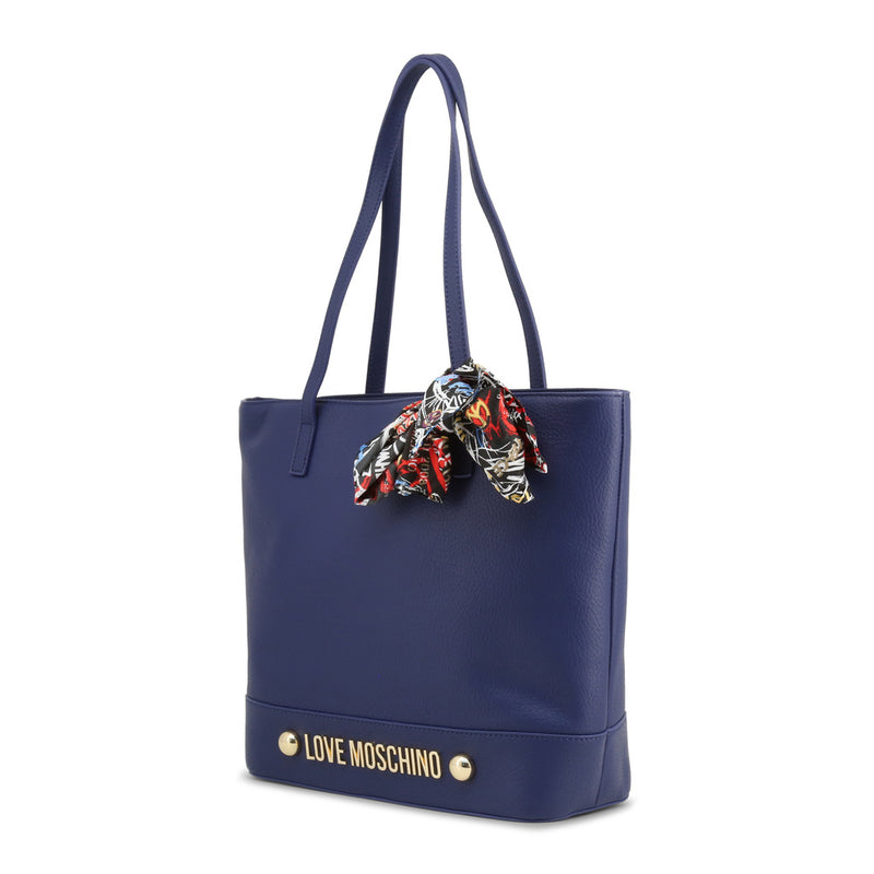 Love Moschino - Shoulder Bag - Blue with Colourful Scarf