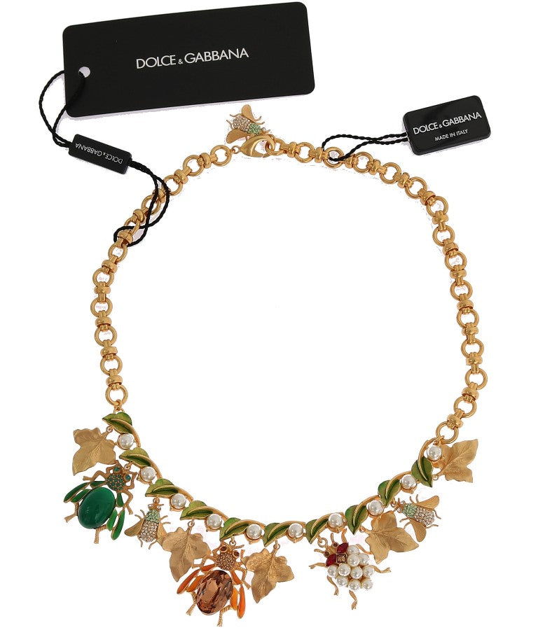 Dolce & Gabbana - Gold Brass Crystal Insect SICILY Charms Necklace