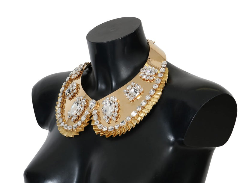 Dolce & Gabbana - Gold Clear Crystal Embellished Necklace Collar