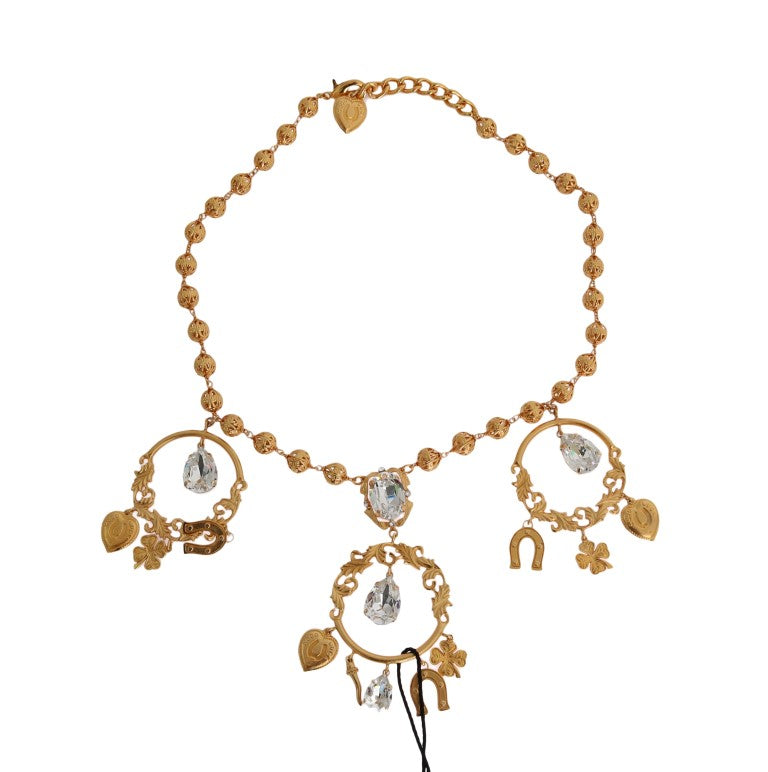 Dolce & Gabbana - Gold Brass Clear Crystal SICILY Charms Necklace