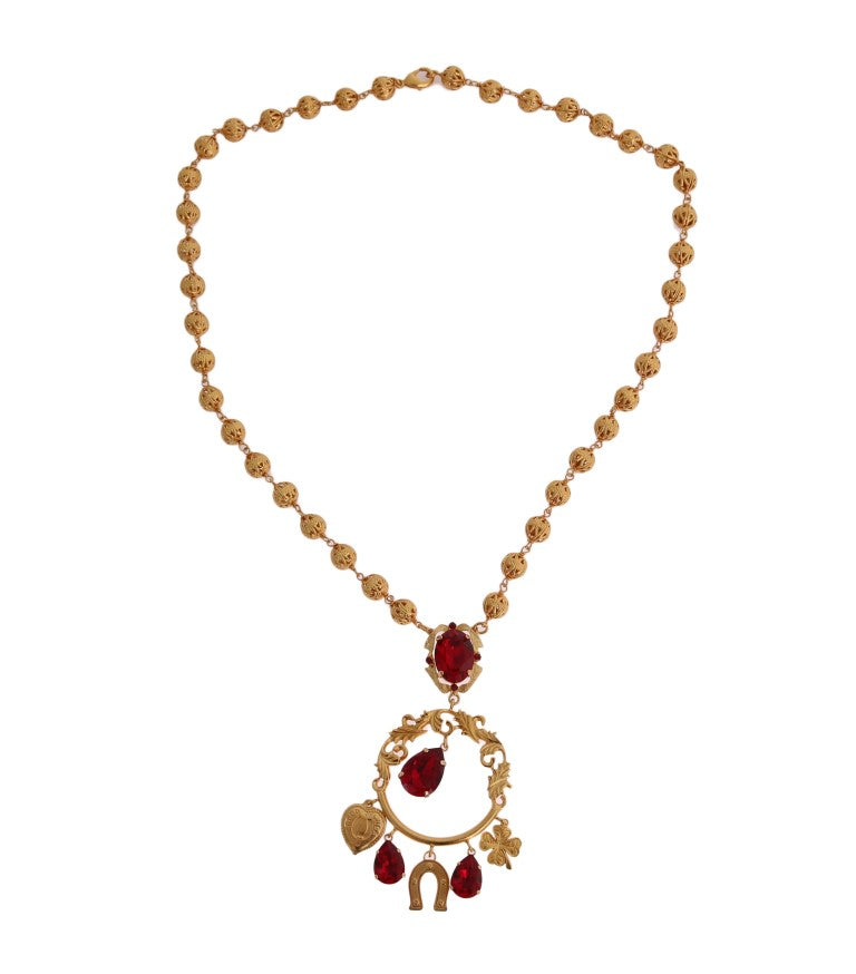 Dolce & Gabbana - Gold Brass Red Crystal SICILY Charms Necklace