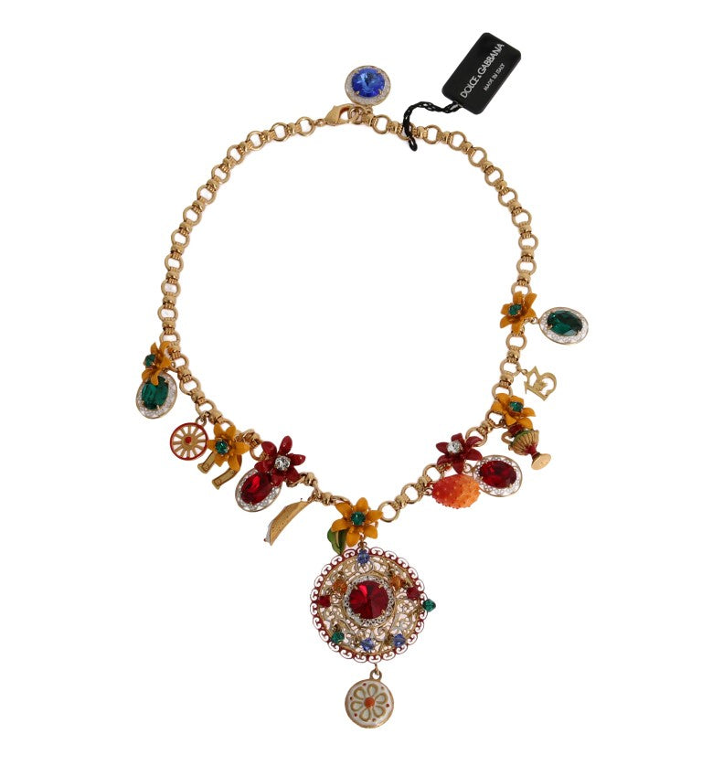 Gold Carretto Crystal Charms Statement Necklace