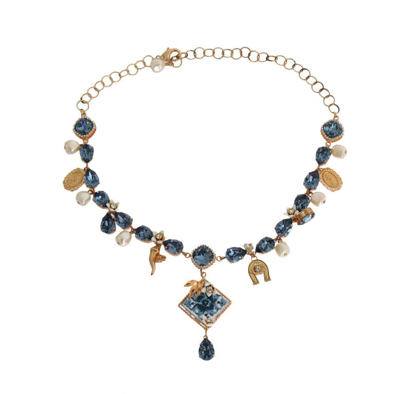 Dolce & Gabbana - Gold Majolica Crystal Charms Statement Necklace