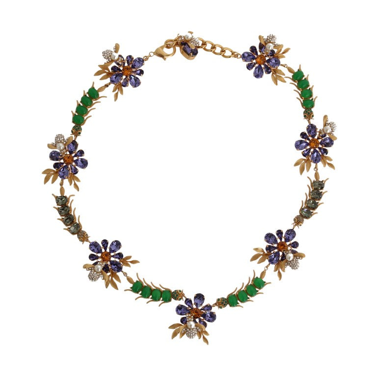 Dolce & Gabbana - Gold Brass Crystal Floral Insect Fly Necklace
