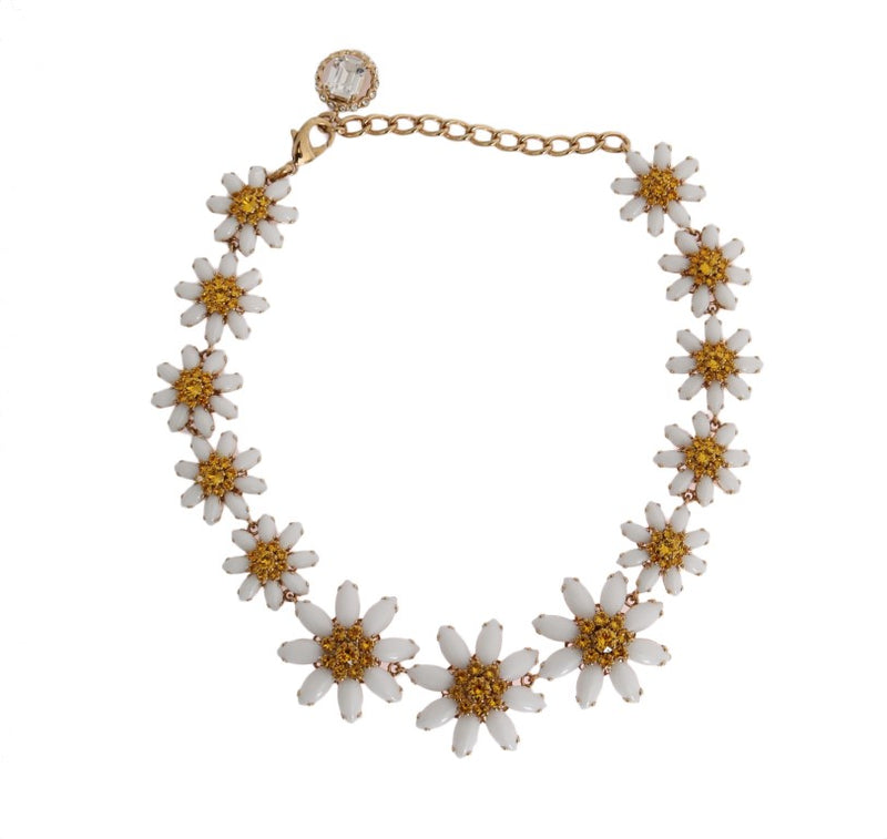 Gold Brass Sunflower Floral Crystal Necklace