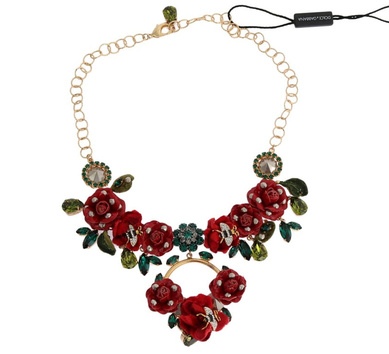 Dolce & Gabbana - Gold Brass Roses Floral Crystal Necklace