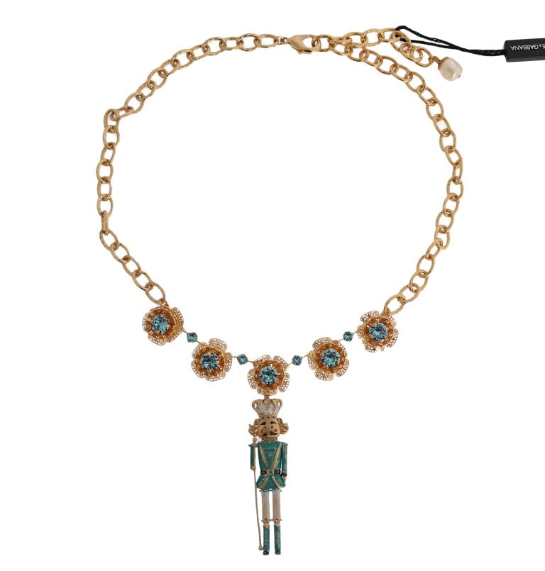Dolce & Gabbana - Gold Brass Handpainted Crystal Floral Necklace